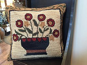Flower Basket Hooked Pillow
