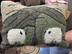 Primitive Wool Hooked Pillow