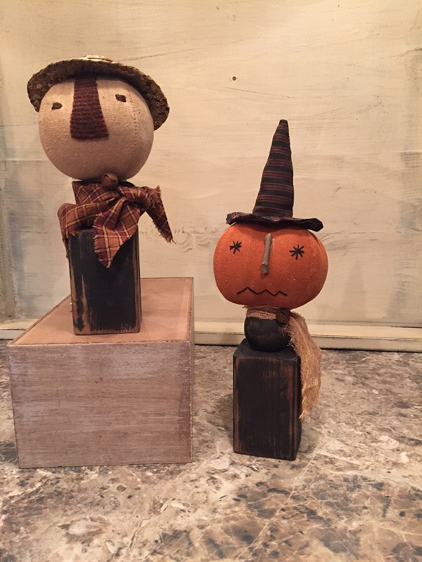 #CSPW0917 Pumpkin Witch & Scarecrow Spindle Set