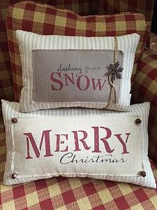 #1117TPS Pillow Set, Christmas Ticking