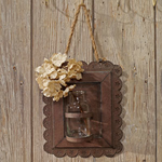 Rustic Metal Framed Jar Holder