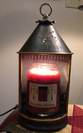 Tin Punched Candle Warmer Lantern w/Homespun Blessings Candle
