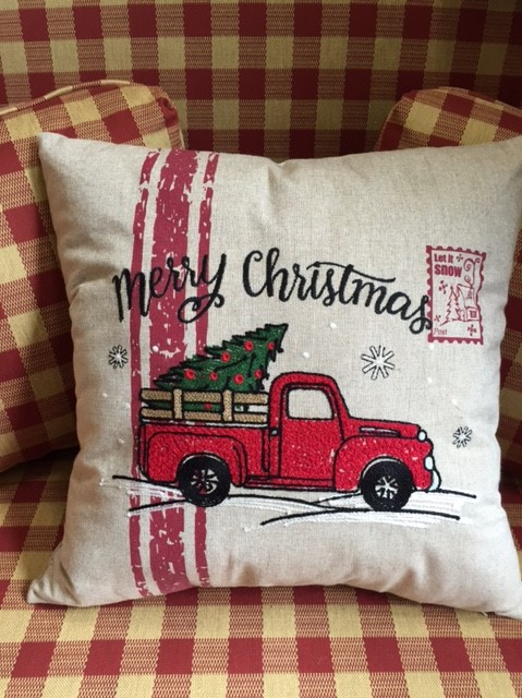 #1117TP Red Truck Pillow