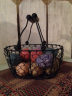 Basket, Primitive black wire-Easter, basket, primitive, homespun, Spring, eggs